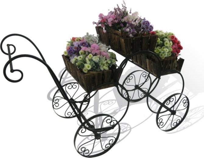 Оптом Телега для цветов с деревянными корзинами на кольцах YSF82027.